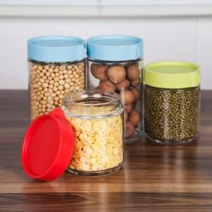 食品真空透明苏打玻璃密封罐 储物罐 防潮花茶坚果收纳罐(大号) 蓝色