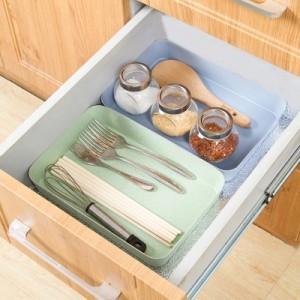 抽屉分隔收纳整理盒 厨房餐具收纳盒长方形塑料收纳格(大号) 卡其色