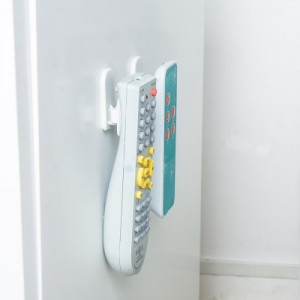 粘贴式遥控器专用收纳挂钩 免钉无痕便利粘钩(含2套) 蓝色
