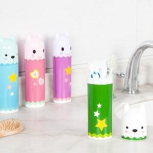 卡通造型洗漱牙具牙刷盒 旅行便携式牙刷牙膏收纳盒牙刷杯 7717 绿色