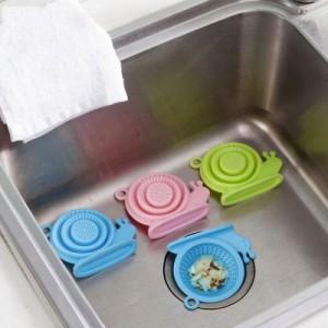 可爱蜗牛造型硅胶地漏盖 厨房水槽下水道过滤网地漏 绿色