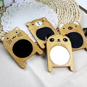 复古ZAKKA风 萌动系列可爱动物木质镜子 随身化妆镜 小熊