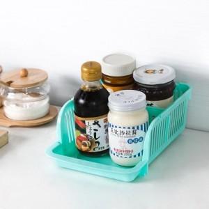 创意多功能冰箱可叠加抽拉式收纳架 塑料桌面储物盒 厨房调味瓶收纳筐 果绿