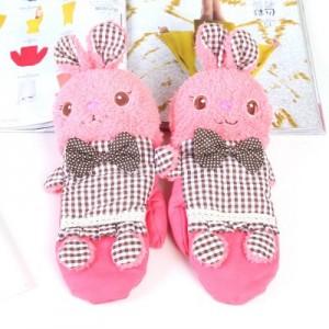 冬季韩版新加厚保暖毛绒手套全指手套 卡通可爱小兔连指手套