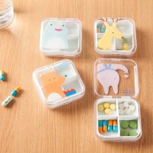 多格分装透明小动物便携药盒 精致小巧放药物盒子 P0923G 粉色兔子