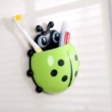创意瓢虫强力吸盘牙膏牙刷架(绿色)OPP袋 400个/箱