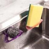 简易吸盘海绵收纳架 椭圆形抹布收纳架 水槽吸壁杂物架 紫色