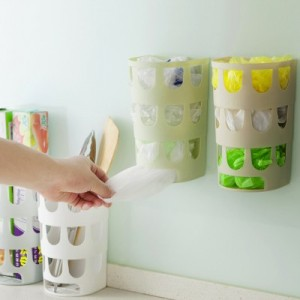 厨房垃圾袋收纳盒 壁挂环保塑料袋抽取盒储物盒 白色