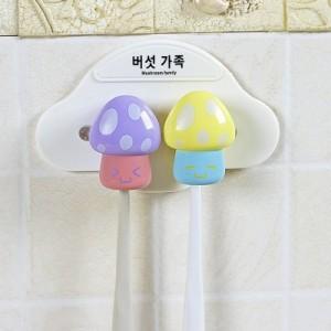 时尚卡通蘑菇家族四人牙刷架 牙刷防尘收纳盒(两朵蘑菇)