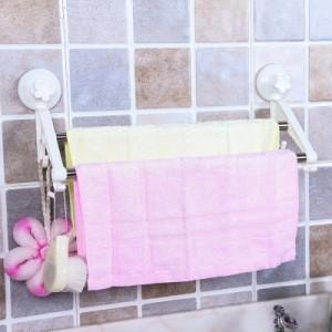 韩版强力双吸盘双杆毛巾架浴室卫生间浴巾收纳架毛巾杆 白色