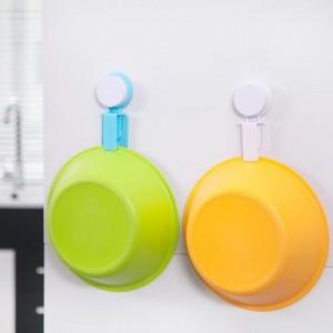 浴室强力真空吸盘脸盆挂钩 厨房面盆夹 无痕免钉浴盆挂架 蓝色