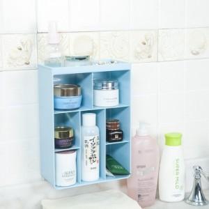 厨房无痕贴置物架 浴室免钉壁挂式收纳盒 整理盒 化妆品储物盒 淡蓝