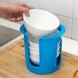 厨房放碗碟收纳架 塑料碗盘收纳盒 储物架 碗架 沥碗架 蓝色