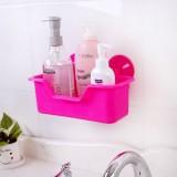 居家卫浴强力吸盘置物架 吸壁式多用沥水收纳篮 厨房储物收纳架 粉色