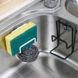 简约带吸盘双层不锈钢水槽海绵沥水架 吸壁杂物收纳架 皂架 黑色