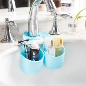 居家创意厨房水槽挂袋 浴室置物架收纳挂袋 牛皮纸盒装(小号两个连体)JY060 玫红