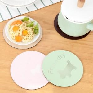创意卡通木质隔热垫碗垫 印花双面木纹餐垫杯垫 绿色