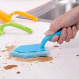 厨房纤维海绵清洁刷 灶台刷子 不粘油长柄强力去污锅刷 洗碗刷 蓝色
