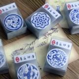 中国风复古木质DIY日记印章 青花瓷印章 QL-0161-06