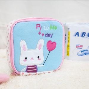 可爱卡通布艺卫生棉包 卫生巾收纳包 零钱包随手袋 粉色笑脸