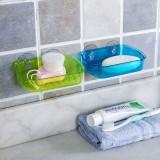 强力无痕吸壁沥水皂盒 海绵擦钢丝球置物架 绿色