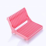 可折叠杯碗盘子沥水收纳架--粉色