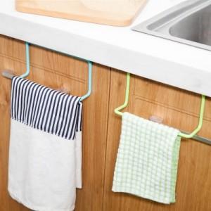 厨房橱柜门背式单杆毛巾架 塑料无痕抹布挂架毛巾杆 多用途杂物挂 粉色
