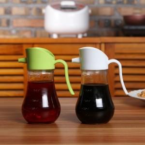 厨房常用液体调味品收纳玻璃可控制便携式油壶(250ml) 粉色