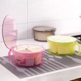创意厨房圆形四格调味盒 透明带盖多格调味罐(大号)9235 粉色