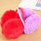 时尚仿兔毛冬季保暖耳罩耳朵防冻保护罩护耳罩 纯色款 红色