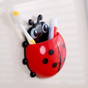 创意瓢虫强力吸盘牙膏牙刷架(红色)OPP袋 250个/箱