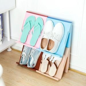 炫彩多功能可叠加拼接鞋架 可悬挂立体鞋子杂志收纳架 浅棕色