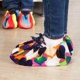 炫彩弹力布鞋套 居家用防滑透气布鞋套  两只装 七彩爱心