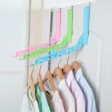 日式室内免打孔可折叠衣服晾晒杆 单杆简易挂衣杆晾衣挂架 蓝色