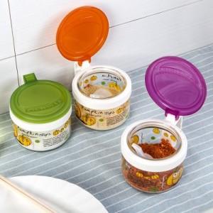 田园玻璃印花调味罐 烤花连体盖调味瓶 (配小勺)300ml  TG2601 橙色