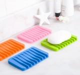 创意家居硅胶可沥水肥皂盒 浴室肥皂香皂盒防滑皂垫 玫红色