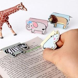 韩国创意文具非洲动物二合一迷你圆珠笔磁性书签