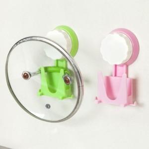 糖果色吸盘挂钩 厨房置物锅盖架 壁挂式收纳挂钩 绿色