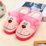 玉兔绒笑脸猴防滑毛绒拖鞋38/39--粉色