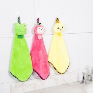 可爱卡通动物头珊瑚绒擦手巾 吸水不掉毛不沾油抹布洗碗布 粉色