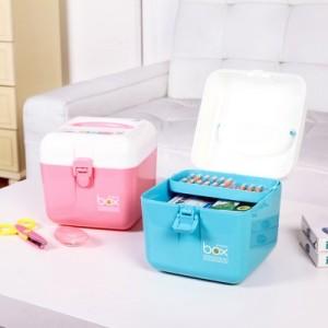 糖果色家用多层药品收纳箱 宝宝医药箱 保健箱 多用杂物收纳盒 绿色