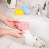 手握式糖果色硅胶洗衣刷 柔软不伤衣物洗衣服刷子 蓝色
