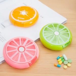 便携旋转分装小清新水果药盒 大容量随身携带迷你放药物盒子 青色