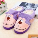 玉兔绒笑脸猴防滑毛绒拖鞋38/39--紫色