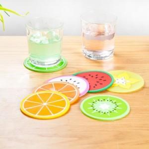 缤纷果冻色水果造型杯垫硅胶杯子垫 创意防滑隔热垫茶杯垫 绿橙