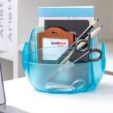 多功能创意遥控器收纳盒 椭圆形桌面杂物整理盒 红色