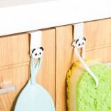 日式创意多功能厨房挂钩 卡通橱柜门背式壁挂(2个装) 白色