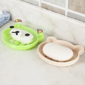 创意卡通可爱旅行沥水肥皂盒浴室时尚带盖大香皂盒架 青蛙