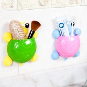 创意可爱卡通乌龟强力吸盘牙刷架 三吸盘牙膏牙刷收纳架RB258 粉色