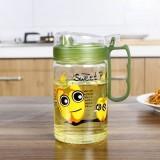 创意田园玻璃油壶 带手柄调料壶 带刻度厨房防漏油罐酱油瓶 580ml 2658 绿色